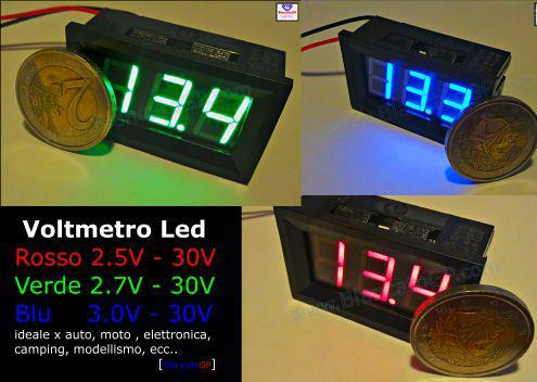 Voltmetro digitale led colore blu rosso verde mini tensione