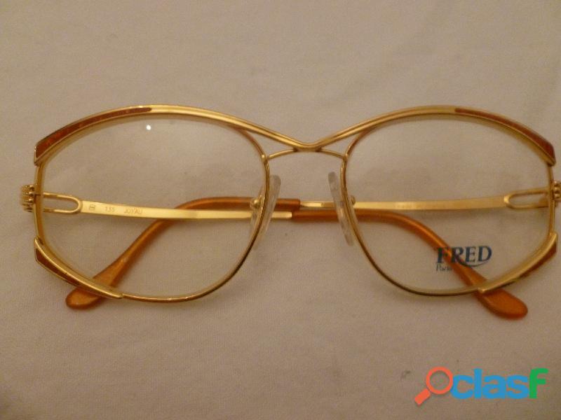 occhiali FRED Jojau placcati oro 18K e smalto arancione