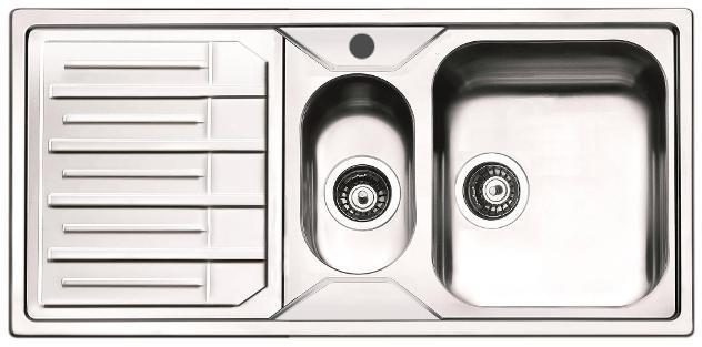 Lavello Cucina 1 Vasca E Mezza 100x50 Cm In Acciaio Inox