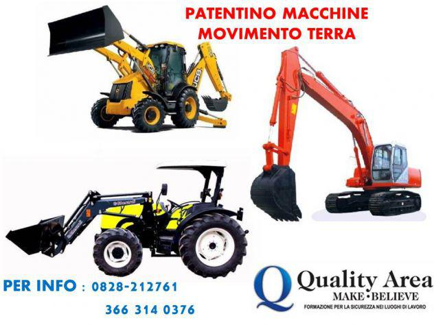 Patentino macchine movimento terra (in tutta italia)