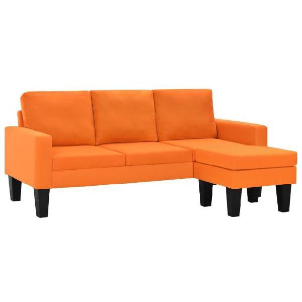 Vidaxl divano 3 posti in tessuto con poggiapiedi arancione