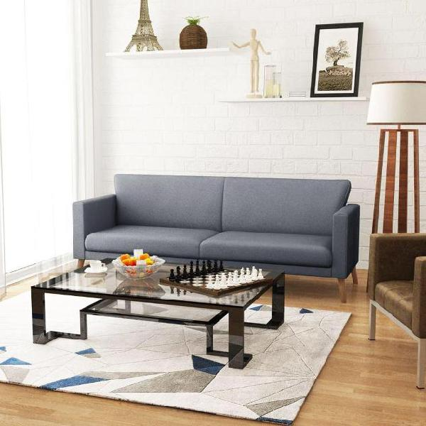 Vidaxl divano a 3 posti in stoffa grigio chiaro