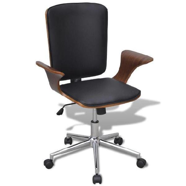 Vidaxl sedia da ufficio girevole in legno curvato e pelle