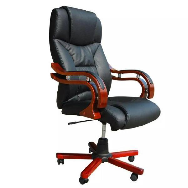 Vidaxl sedia poltrona ufficio girevole ve legno e pelle,