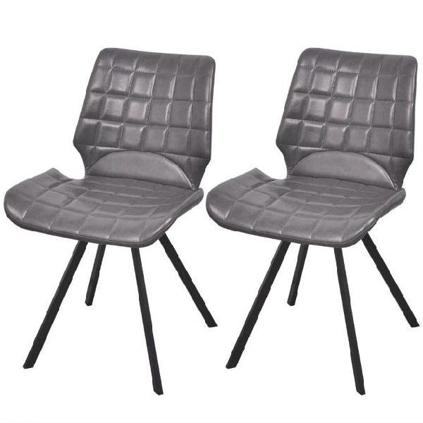Vidaxl sedie da pranzo 2 pz in similpelle grigie