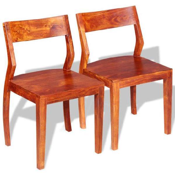 Vidaxl set sedie da pranzo 2 pz in legno massello di