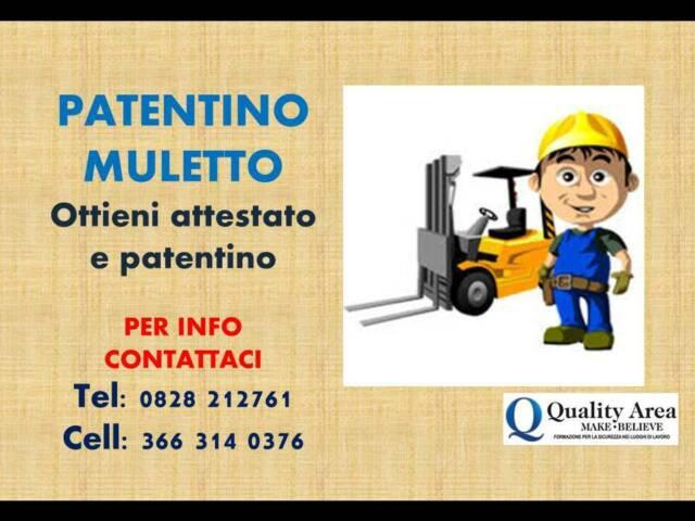 """Patentinocarrello elevatore (muletto) """"in tutta italia"""