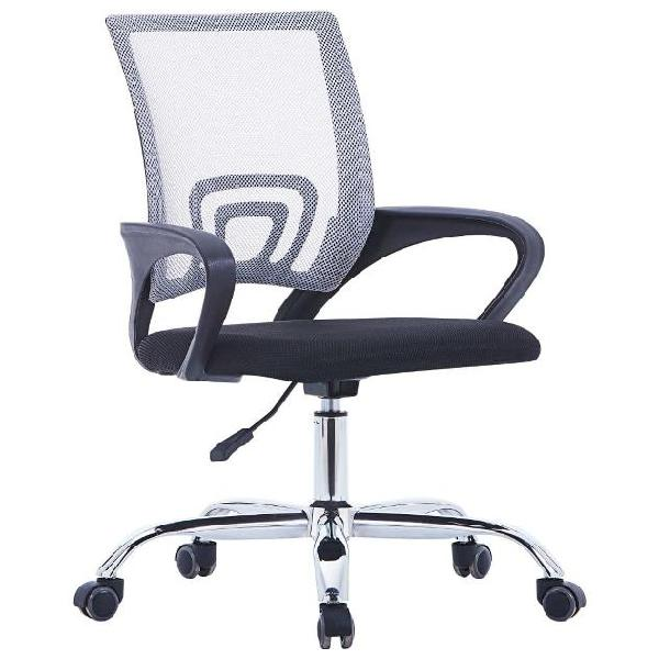 Vidaxl sedia da ufficio con schienale reticolato grigia in