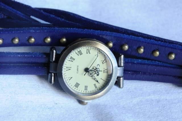 Orologio bracciale cuoio blu o marrone