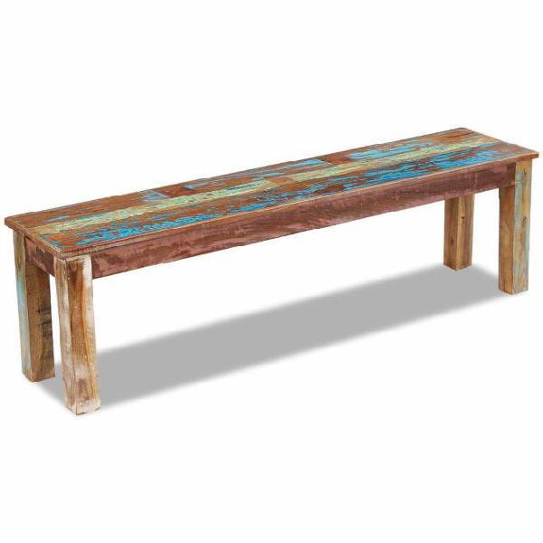 Vidaxl panca in legno massiccio di recupero 160x35x46 cm