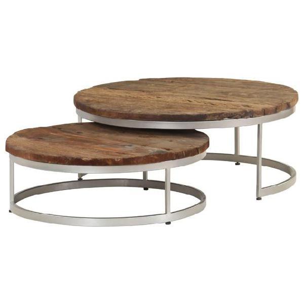 Vidaxl set tavolini da caffè 2 pz in legno di traversina e