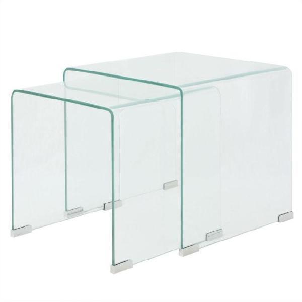 Vidaxl set da tavolo ad incastro a due pezzi in vetro