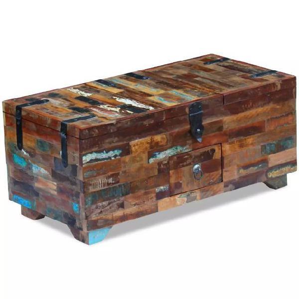 Vidaxl tavolino da caffè baule legno massello di recupero