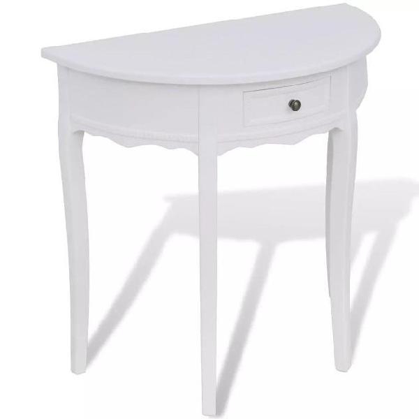 Vidaxl tavolo consolle con cassetto semicircolare bianco