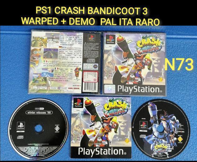Ps1 crash bandicoot 3 warped + demo pal ita raro