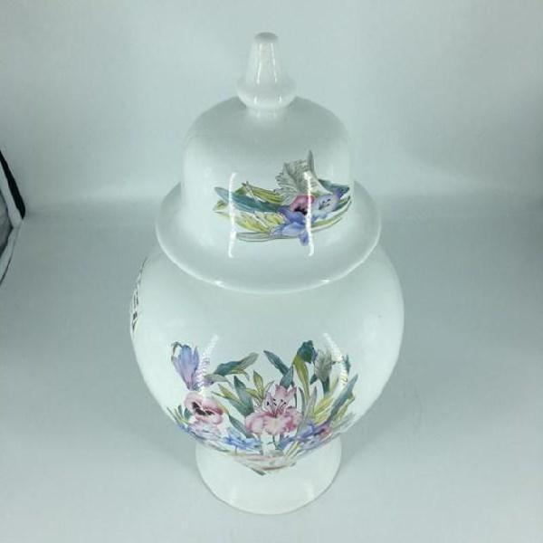 Potiche vaso bianco fiori color