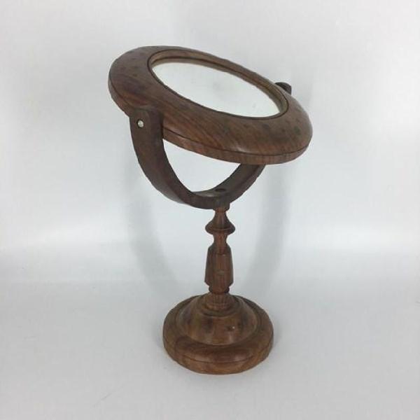 Specchio da tavolo base legno