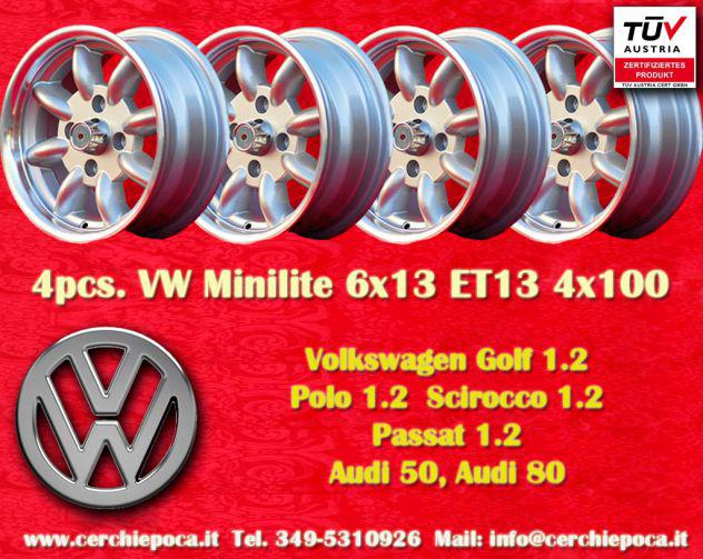 4 cerchi volkswagen golf polo minilite 6x13 et13
