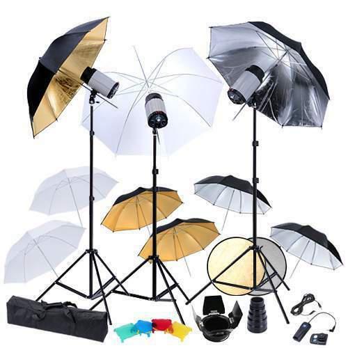 Set kit studio fotografico flash ombrelli stativi