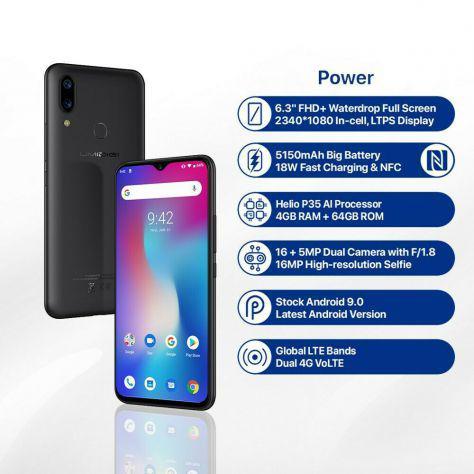 Umidigi power, nuovo, 6,3 pollici, ram 4 gb, 64 gb, 4g,