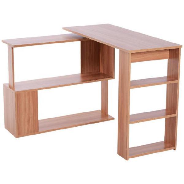 Scrivania angolare multiposizione con 5 ripiani legno