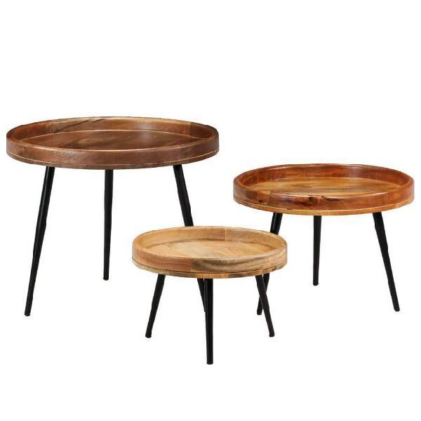 Vidaxl set tavolini 3 pz in legno massello di mango e
