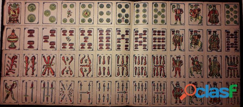 Antico foglio non tagliato carte da gioco piacentine