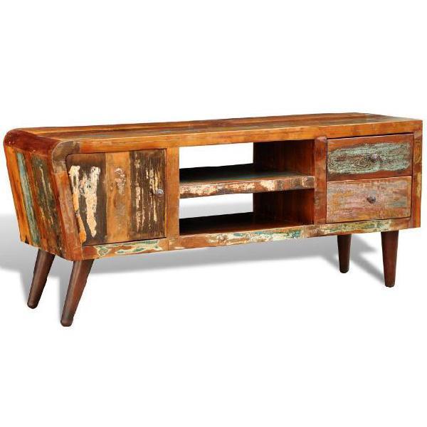 Vidaxl mobiletto da tv in legno riciclato 1 sportello 2