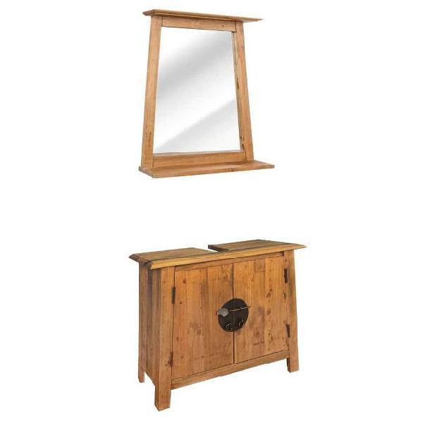 Vidaxl set mobili per il bagno in massello di pino riciclato