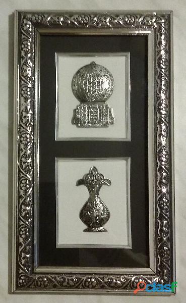 Quadro rettangolare cornice in legno e due luci in argento antico 800 stile arabo come nuovo