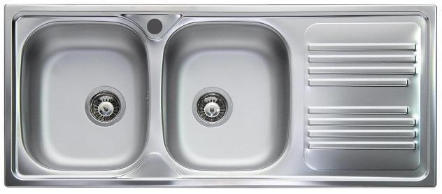 Lavello cucina 2 vasche 116x50 cm in acciaio inox apell