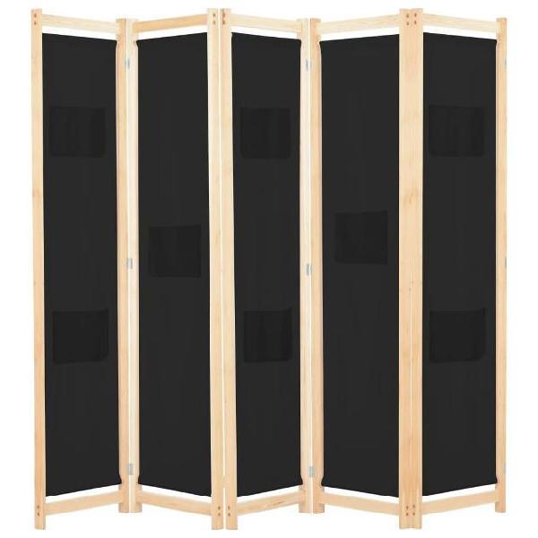 Vidaxl divisorio a 5 pannelli nero 200x170x4 cm in tessuto