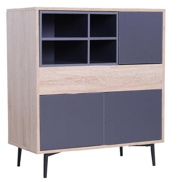 Credenza mobile da soggiorno in legno naturale e grigio