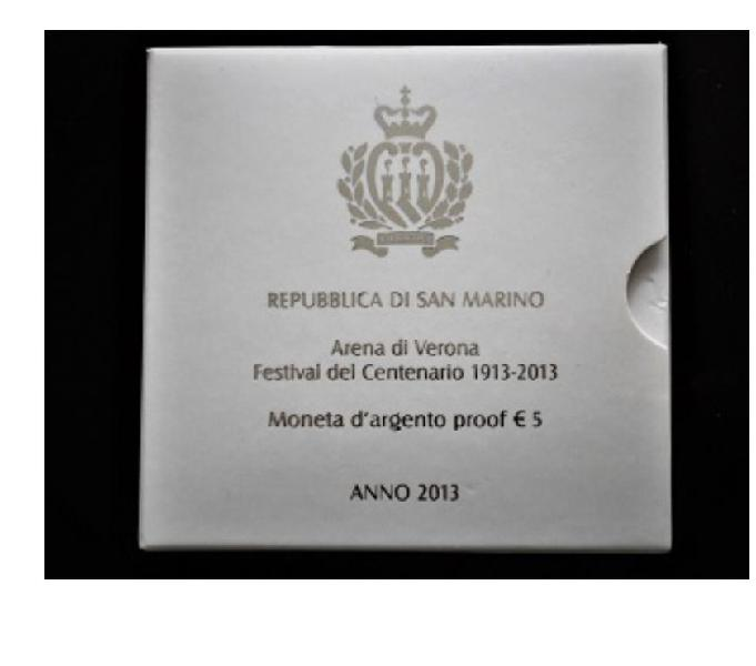 San marino-moneta argento 5 euro-arena di verona-anno 2013