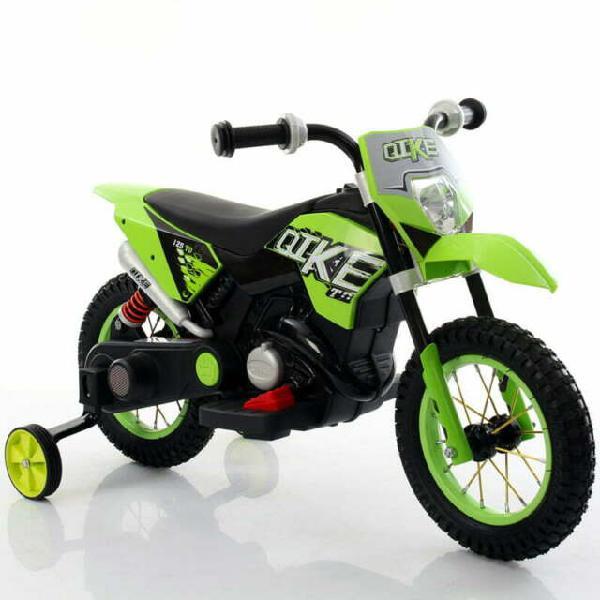 Moto elettrica per bambini 6v kid go ruote gonfiabili verde