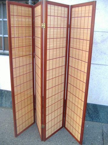Paravento legno e canna bambù