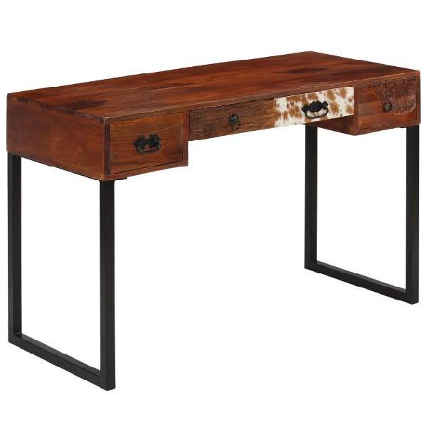 Vidaxl scrivania legno massello di sheesham e vera pelle