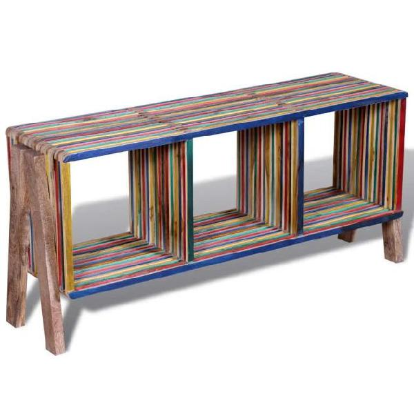vidaXL Mobile TV con 3 mensole impilabile in legno anticato