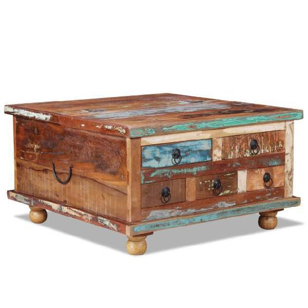 vidaXL Tavolino da Caffè in Legno di Recupero 70x70x38 cm