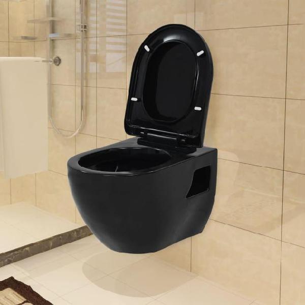 Vidaxl wc sospeso in ceramica nera