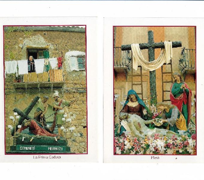 N 16 cartoline illustrate a colori Via Crucis Caltanissetta