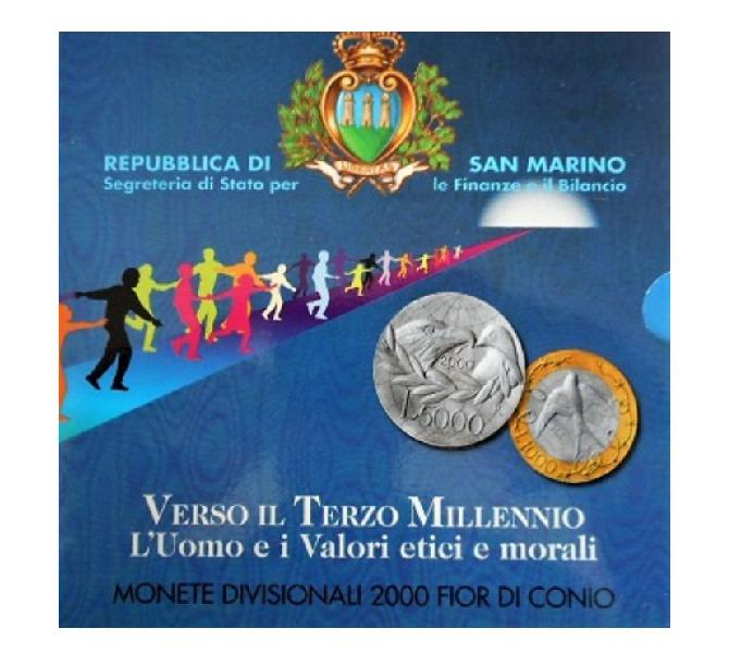 Rep. di san marino-monete divisionali fdc-anno 2000