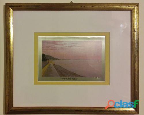 """Serigrafia su lastra d'argento 925% """"tramonto rosa"""" di roberto d'ambrosio con certificato nuovo"""