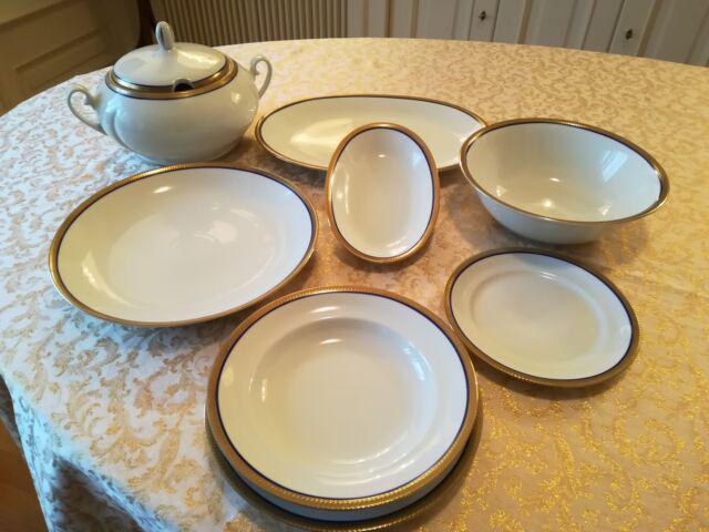 Servizio piatti porcellana anni'70 bordo oro/blu