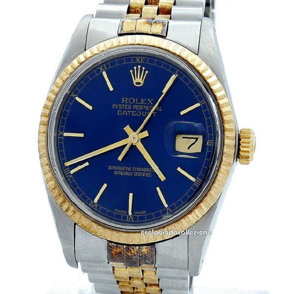 Rolex date just ref. 16013 acciaio oro quadrante blu