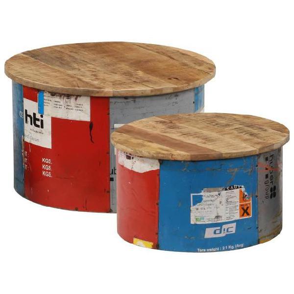 Vidaxl tavolini da caffè 2 pz in legno massello di mango