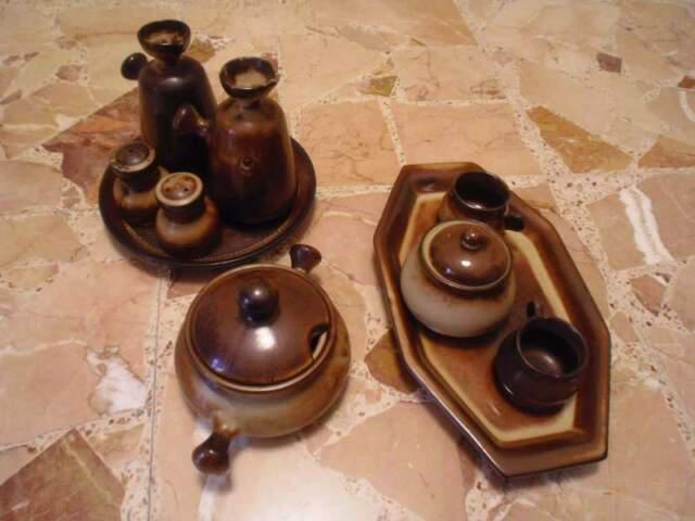 Servizio 10 pezzi ceramica marrone