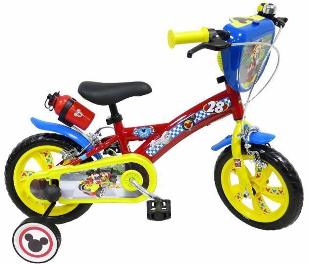 """Bicicletta per bambino 12"""" eva 2 freni mickey racer rossa"""