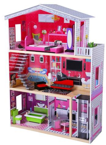 Casa per bambole 3 piani 83x32x115cm in legno miller villino