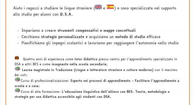 Tutor dsa - lingue straniere e metodo di studio